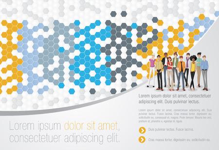 abstrakcja: Szablon do broszury reklamowej z kreskówek młodych ludzi. Ilustracja