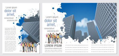 Plantilla azul para el folleto publicitario con la gente de negocios en la ciudad Ilustración de vector
