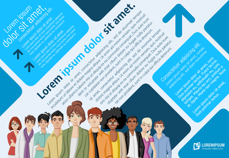 Template for advertising brochure with cartoon young people. Illustration