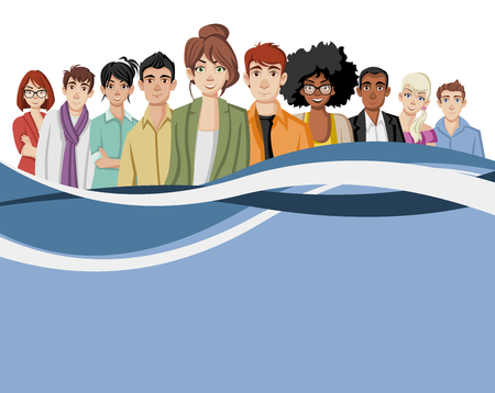juvenile: Template for advertising brochure with cartoon young people. Illustration