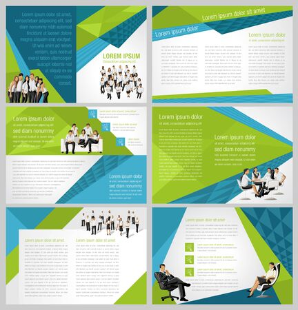 associate: Red template for advertising brochure with business people