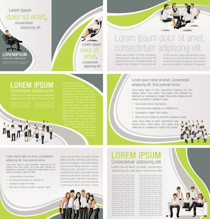 Red template for advertising brochure with business people Vetores