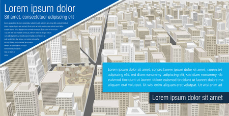 Template for advertising brochure with Big city with buildings. Downtown. Illustration