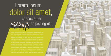 business buildings: Template for advertising brochure with business people on a big city with buildings. Downtown.