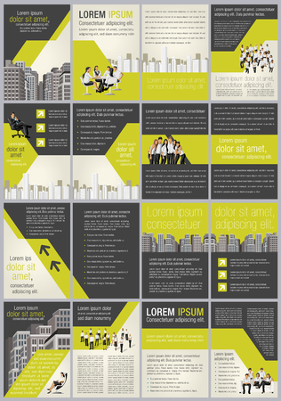 Yellow template for advertising brochure with business people in the city