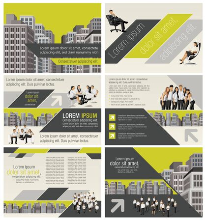 page layout: Yellow template for advertising brochure with business people in the city
