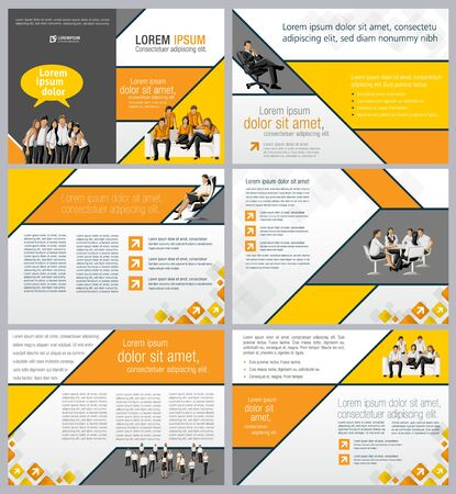 associate: Orange template for advertising brochure with business people