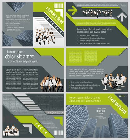Gray and green template for advertising brochure with business people in the city Vetores