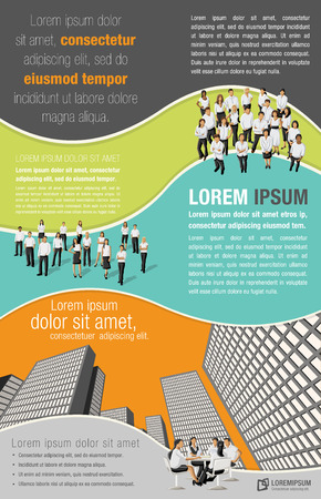 Colorful template for advertising brochure with business people in the city