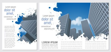 city buildings: Template for advertising brochure with Big city with buildings. Downtown. Illustration