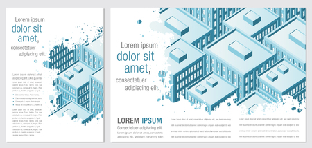 residential neighborhood: Template for advertising brochure with Big city with buildings. Downtown. Illustration