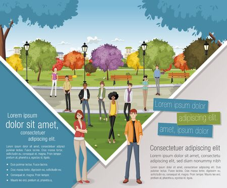 Template for advertising brochure with people on colorful park Vetores
