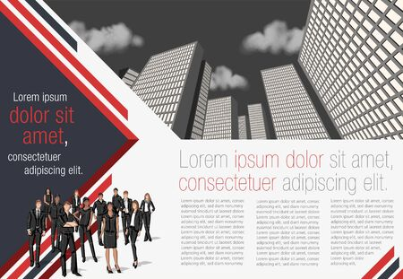 Template for advertising brochure with business people in the city Vetores