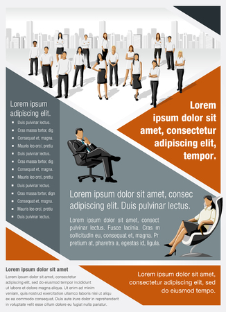 page layout: Template for advertising brochure with business people