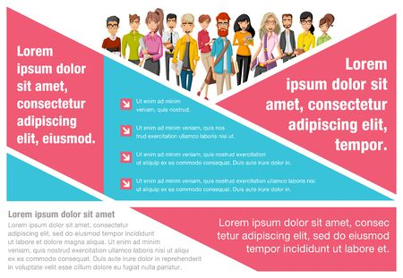 blonde teenager: Template for advertising brochure with large group of cartoon business people