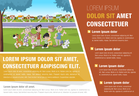 suburban: Template for advertising brochure with cartoon family in suburban neighborhood.