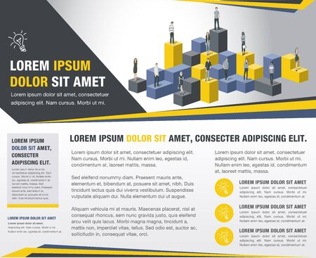 Template for advertising brochure with business people Vetores