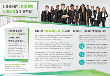 Template for advertising brochure with business people in the city