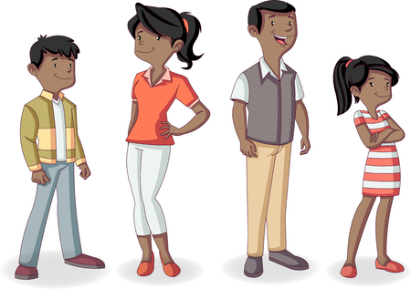 Colorful happy black people. Cartoon african american family.