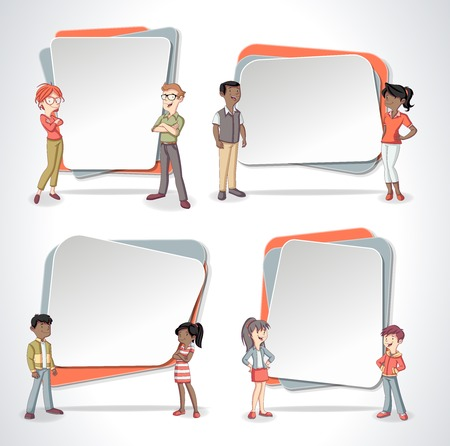 Vector banners  backgrounds with cartoon family. Infographic template design.