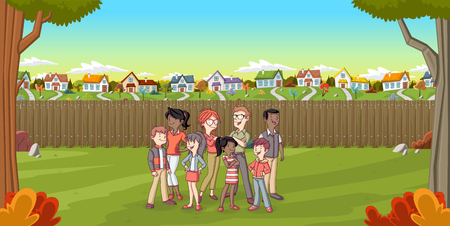 family park: Cartoon family in suburban neighborhood. Green park landscape with grass, trees, and houses.