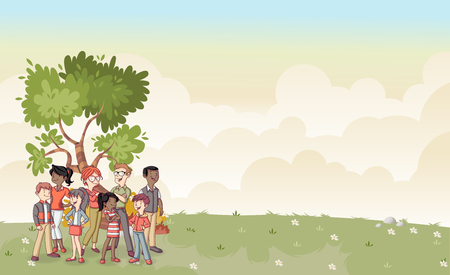 family: Park with cartoon family. Nature background. Illustration