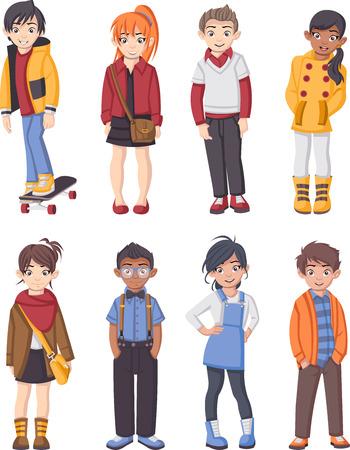 Groep kinderen cartoon mode. Tiener.