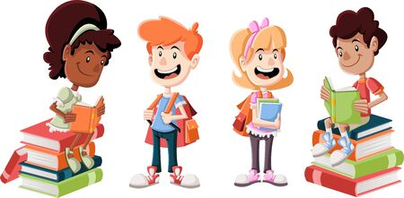 Cute cartoon children with books. Students.