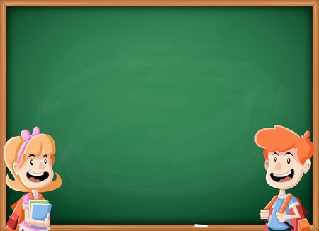 Cartoon children with books in front of green chalkboard blackboard. Students with backpack.