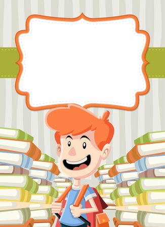 Card with cartoon boy reading books. Student.