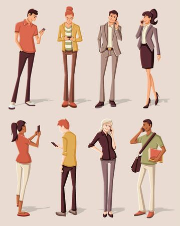 woman cellphone: Young people with smart phones Illustration