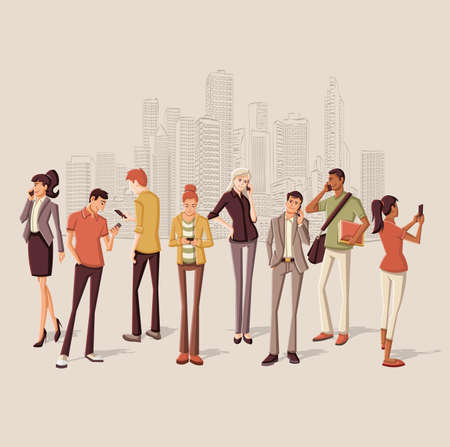 People in the city with smart phones Illustration