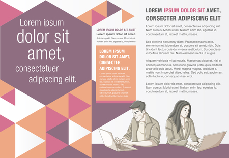 Template for advertising brochure with people working with computer. Office workspace with desks.