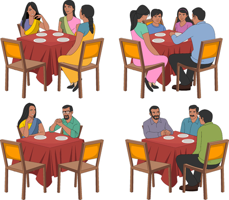restaurant tables: Restaurant tables with indian people wearing traditional clothes