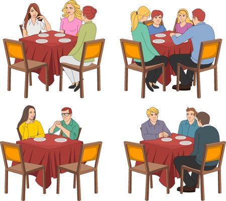 restaurant tables: Restaurant tables with people talking Illustration