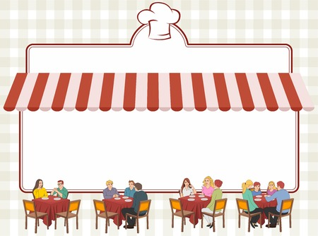 restaurant tables: Red restaurant menu with people on tables