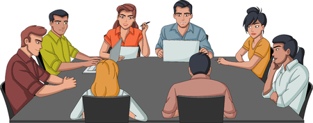 Business people working on office. Meeting table.