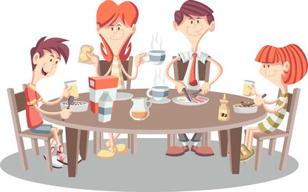 Familia de dibujos animados desayunando. Tabla con los alimentos. Foto de archivo - 75073507