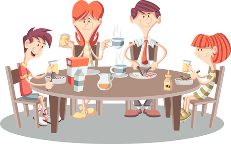 Famille de dessins animés ayant le petit-déjeuner Tableau avec nourriture. Banque d'images - 75073507