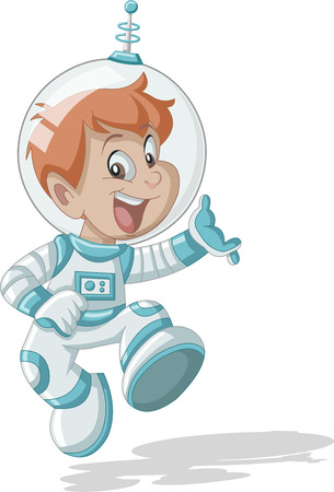 Astronaut cartoon boy in outer space suit