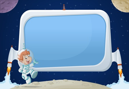 Futuristic rocket screen board with cartoon boy astronaut in the space. Illustration