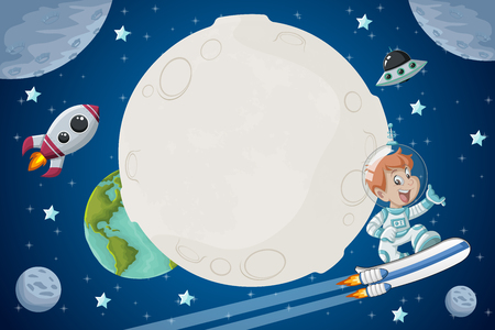 Astronaut cartoon boy flying in the space with a futuristic rocket skate board.