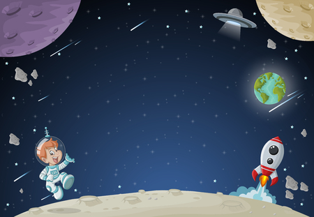 Astronaut cartoon boy flying in the space with a futuristic rocket shuttle. Spaceship around the planet earth and moon.