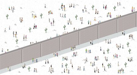 Two groups of people separated by wall. Brick wall dividing people. Vektorové ilustrace