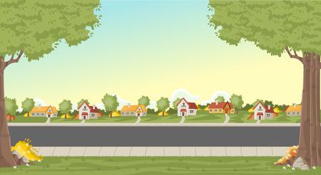 Case colorate nel quartiere di periferia. Paesaggio del parco verde con erba, alberi, fiori e nuvole. Vettoriali