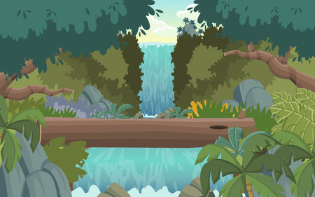 waterfall in forest: Green forest with waterfall. Nature landscape. Illustration