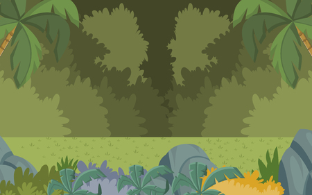 grass land: Green forest with grass and trees. Nature landscape. Illustration