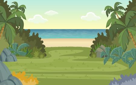 Bosque verde y playa tropical. Paisaje de la naturaleza.