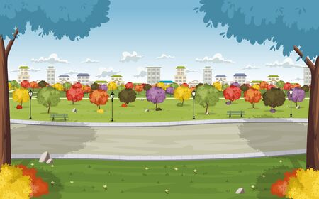 crocket: Road on colorful park in the city