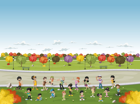 family park: Cartoon family in a green park with grass and trees. Nature landscape.